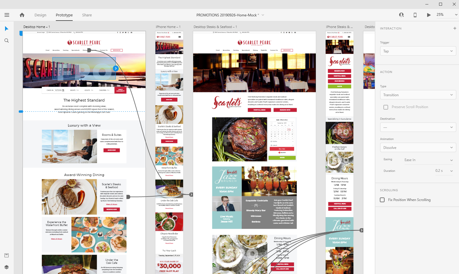 full image of Adobe XD with website process